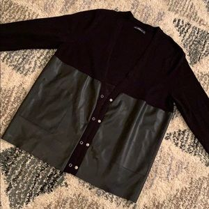 Faux leather/knit boyfriend cardigan with pockets!